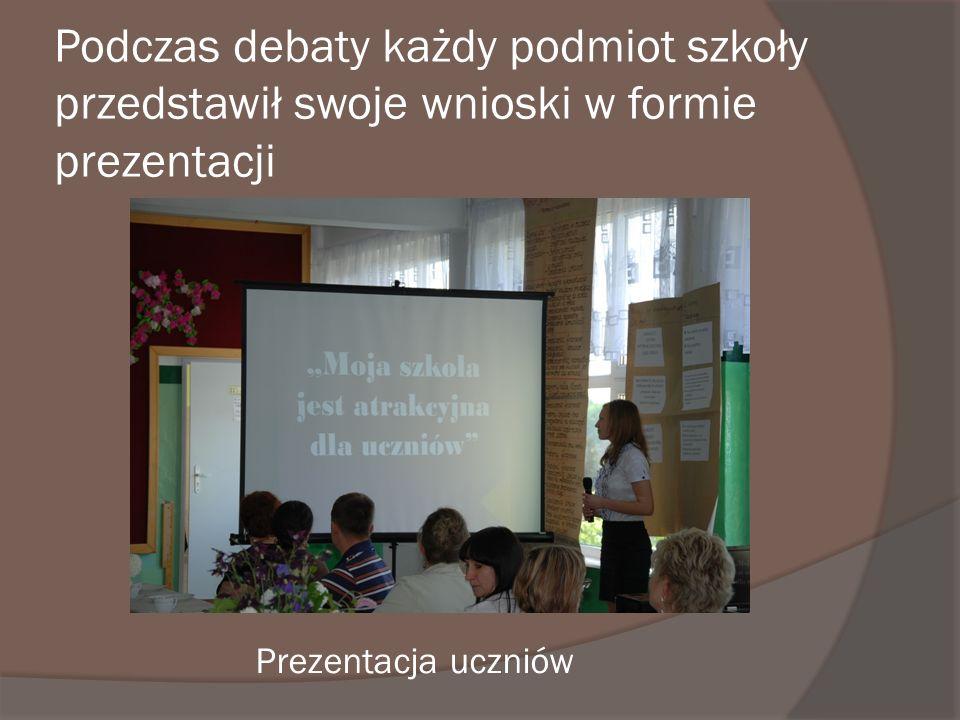 Podczas debaty każdy podmiot szkoły przedstawił swoje wnioski w formie prezentacji Prezentacja uczniów