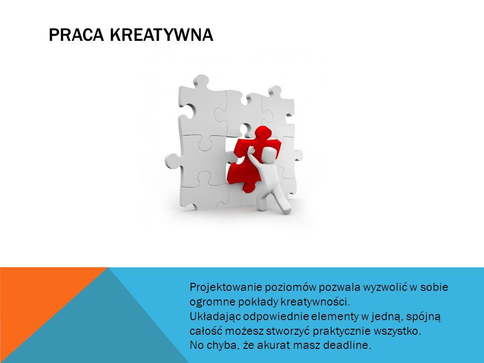 PRZYDATNE UMIEJĘTNOŚCI -Szkic -Grafika 2D -Myślenie przestrzenne -Język Angielski Choć coraz częściej możemy natknąć się na informacje dotyczące projektowania poziomów w języku Polskim, to jednak wciąż znajomość języka Angielskiego jest praktycznie niezbędna do efektywnej nauki.