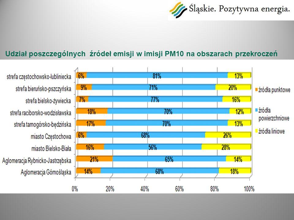 Udział poszczególnych źródeł emisji w imisji PM10 na obszarach przekroczeń