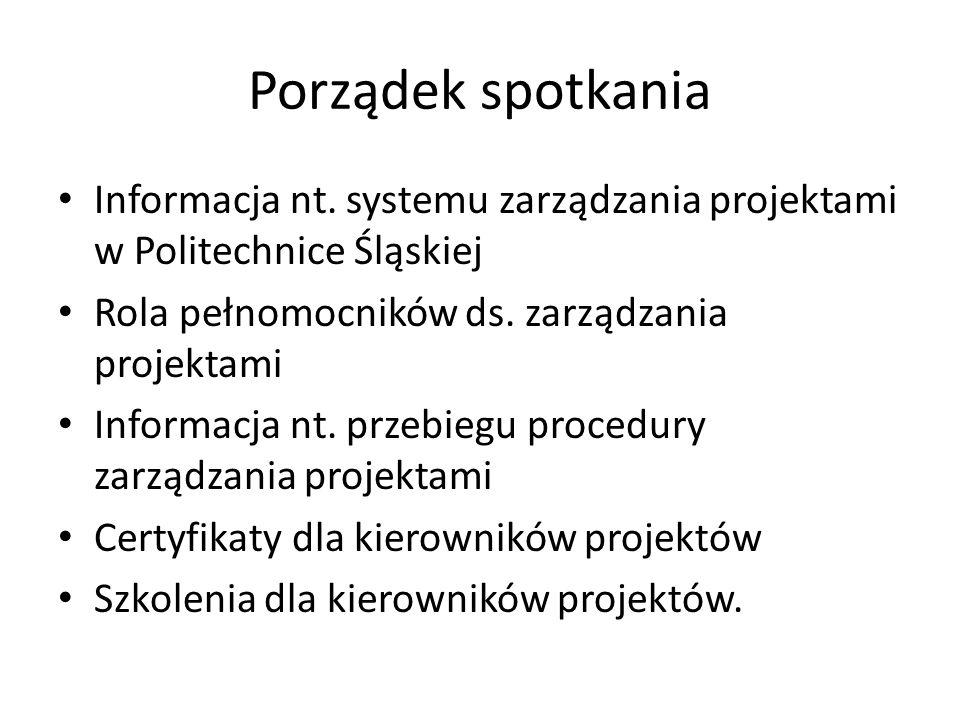 System zarządzania projektami (zarządzenie Rektora nr 14/10/11 z 30.11.2010) Elementy systemu zarządzania projektami: – Centrum Zarządzania Projektami – CZP – Pełnomocnicy dziekanów ds.