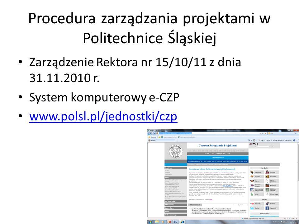 Procedura zarządzania projektami w Politechnice Śląskiej Zarządzenie Rektora nr 15/10/11 z dnia 31.11.2010 r.