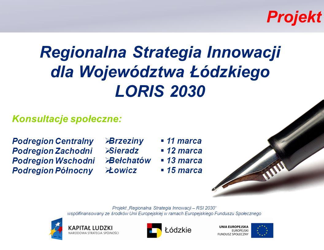 Regionalna Strategia Innowacji dla Województwa Łódzkiego LORIS 2030 Projekt Regionalna Strategia Innowacji – RSI 2030 współfinansowany ze środków Unii Europejskiej w ramach Europejskiego Funduszu Społecznego Konsultacje społeczne: Podregion Centralny Podregion Zachodni Podregion Wschodni Podregion Północny Projekt Brzeziny Sieradz Bełchatów Łowicz 11 marca 12 marca 13 marca 15 marca