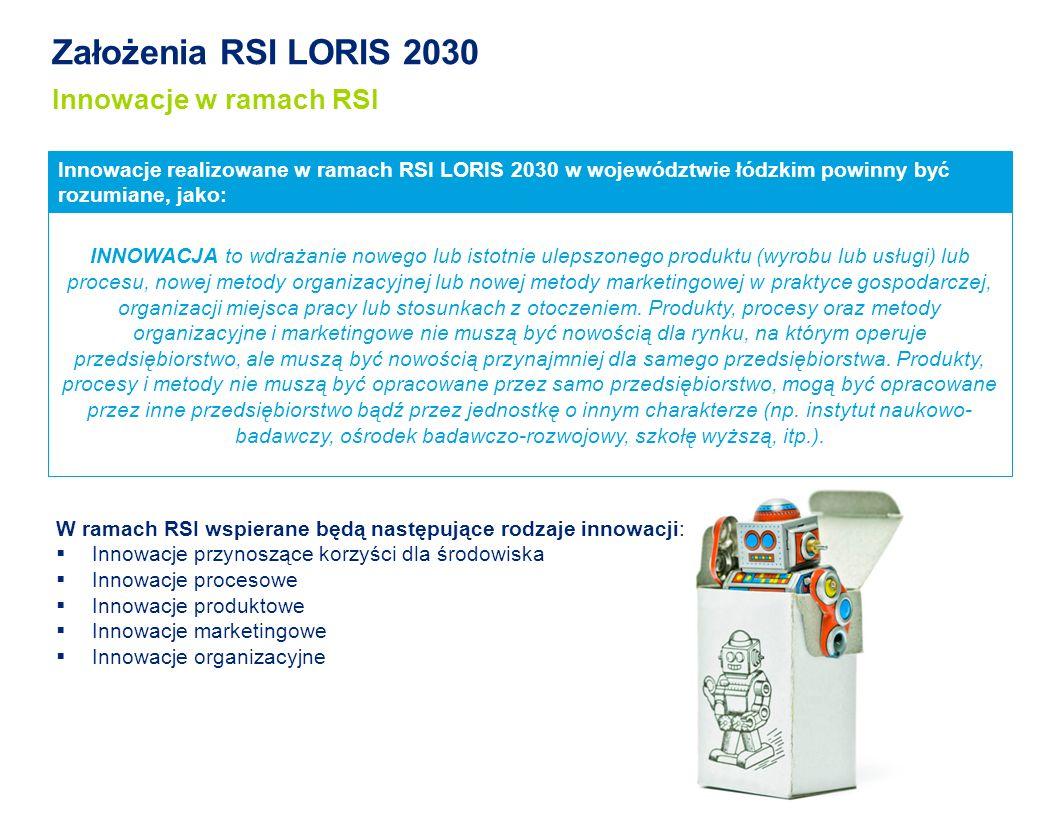 Założenia RSI LORIS 2030 Innowacje w ramach RSI Innowacje realizowane w ramach RSI LORIS 2030 w województwie łódzkim powinny być rozumiane, jako: W ramach RSI wspierane będą następujące rodzaje innowacji: Innowacje przynoszące korzyści dla środowiska Innowacje procesowe Innowacje produktowe Innowacje marketingowe Innowacje organizacyjne INNOWACJA to wdrażanie nowego lub istotnie ulepszonego produktu (wyrobu lub usługi) lub procesu, nowej metody organizacyjnej lub nowej metody marketingowej w praktyce gospodarczej, organizacji miejsca pracy lub stosunkach z otoczeniem.