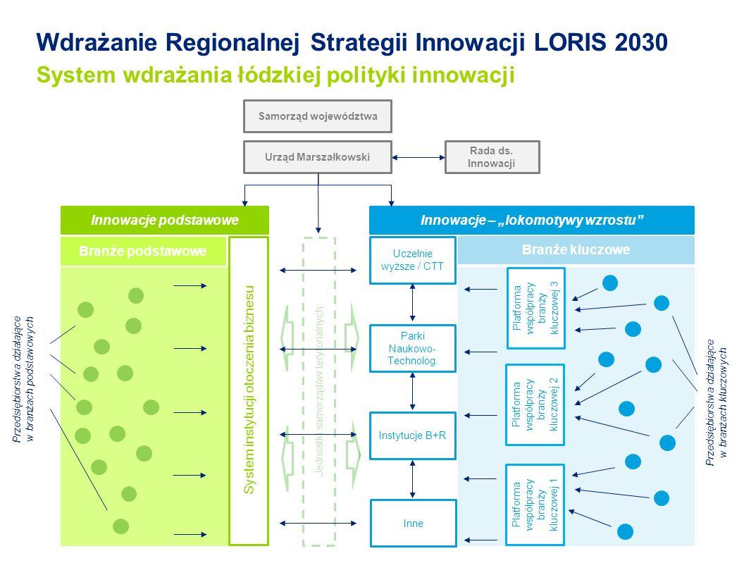 Jednostki samorządów terytorialnych Wdrażanie Regionalnej Strategii Innowacji LORIS 2030 System wdrażania łódzkiej polityki innowacji System instytucji otoczenia biznesu Rada ds.