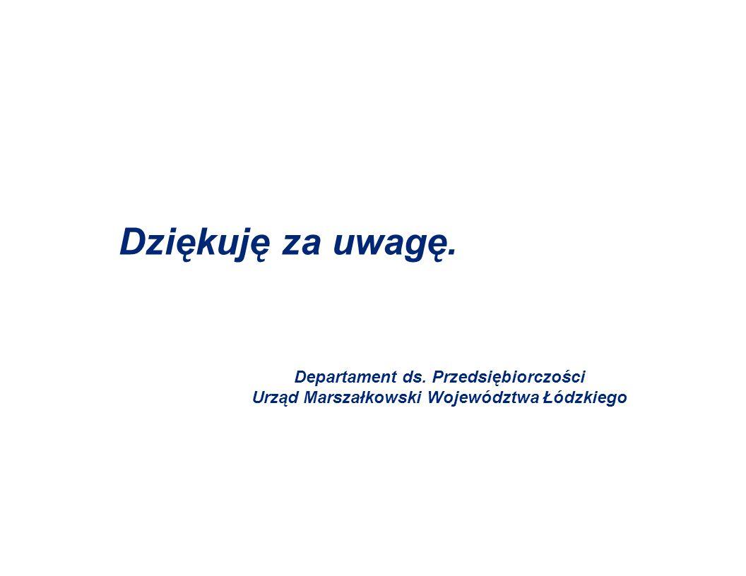 Dziękuję za uwagę. Departament ds. Przedsiębiorczości Urząd Marszałkowski Województwa Łódzkiego