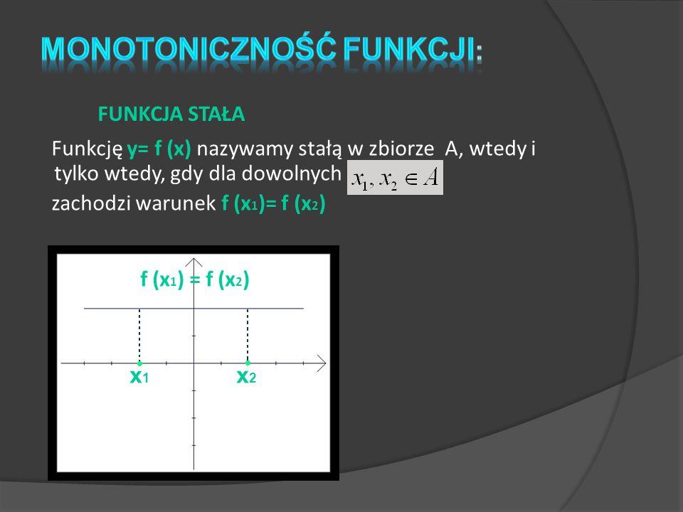 Funkcję y= f (x) nazywamy stałą w zbiorze A, wtedy i tylko wtedy, gdy dla dowolnych zachodzi warunek f (x 1 )= f (x 2 ) FUNKCJA STAŁA f (x 1 ) = f (x