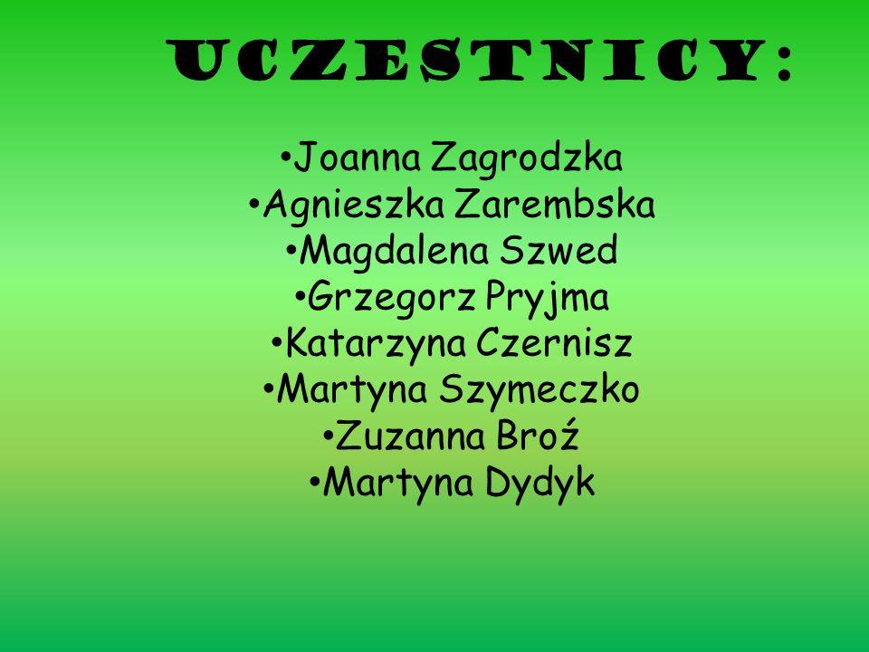 Uczestnicy: Joanna Zagrodzka Agnieszka Zarembska Magdalena Szwed Grzegorz Pryjma Katarzyna Czernisz Martyna Szymeczko Zuzanna Broź Martyna Dydyk