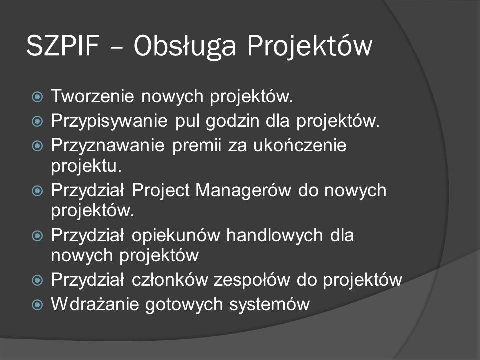 SZPIF – Obsługa Projektów Tworzenie nowych projektów.