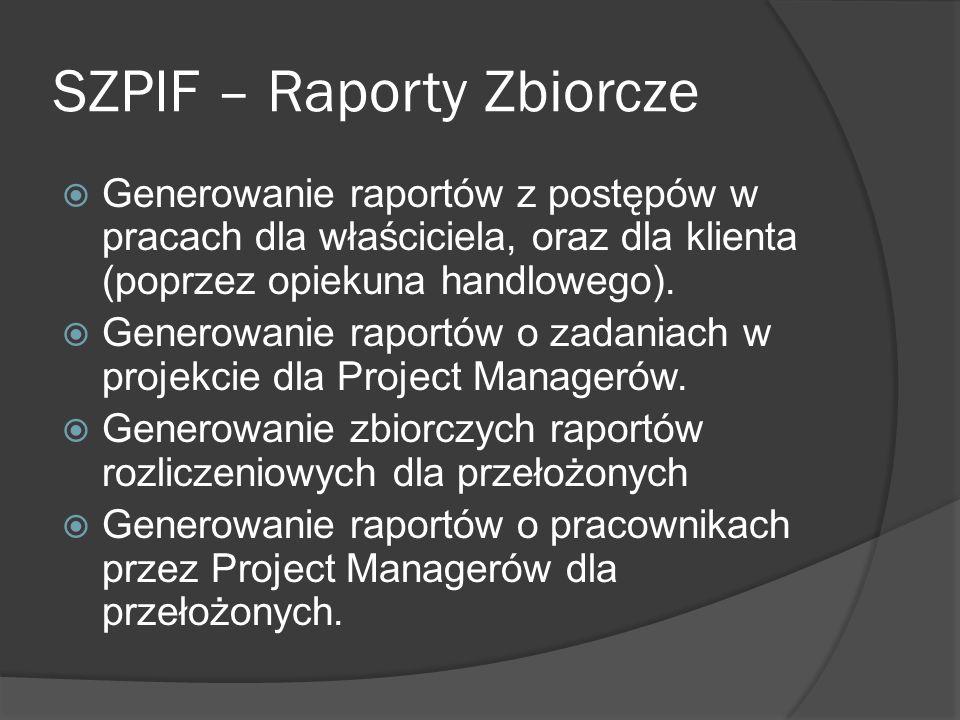 SZPIF – Raporty Zbiorcze Generowanie raportów z postępów w pracach dla właściciela, oraz dla klienta (poprzez opiekuna handlowego).