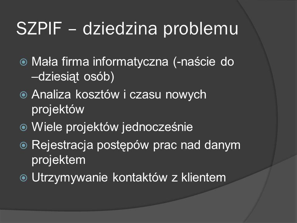 SZPIF – dziedzina problemu Mała firma informatyczna (-naście do –dziesiąt osób) Analiza kosztów i czasu nowych projektów Wiele projektów jednocześnie Rejestracja postępów prac nad danym projektem Utrzymywanie kontaktów z klientem
