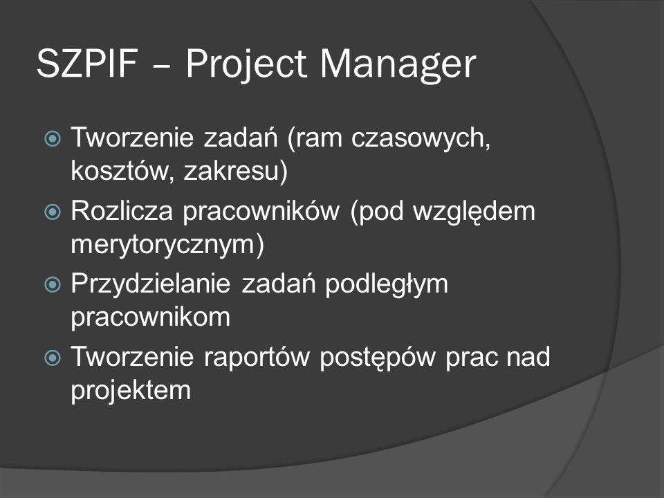 SZPIF – Project Manager Tworzenie zadań (ram czasowych, kosztów, zakresu) Rozlicza pracowników (pod względem merytorycznym) Przydzielanie zadań podległym pracownikom Tworzenie raportów postępów prac nad projektem