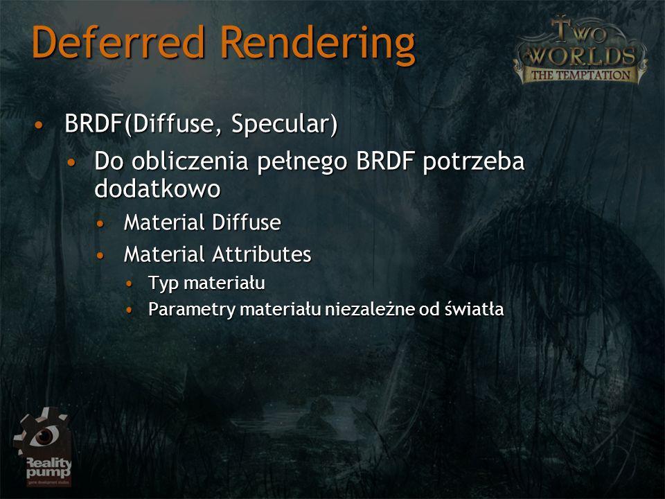 BRDF(Diffuse, Specular)BRDF(Diffuse, Specular) Do obliczenia pełnego BRDF potrzeba dodatkowoDo obliczenia pełnego BRDF potrzeba dodatkowo Material DiffuseMaterial Diffuse Material AttributesMaterial Attributes Typ materiałuTyp materiału Parametry materiału niezależne od światłaParametry materiału niezależne od światła Deferred Rendering