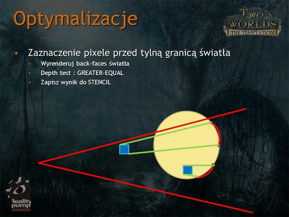 Zaznaczenie pixele przed tylną granicą światłaZaznaczenie pixele przed tylną granicą światła Wyrenderuj back-faces światłaWyrenderuj back-faces światła Depth test : GREATER-EQUALDepth test : GREATER-EQUAL Zapisz wynik do STENCILZapisz wynik do STENCIL Optymalizacje
