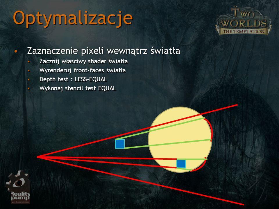 Zaznaczenie pixeli wewnątrz światłaZaznaczenie pixeli wewnątrz światła Zacznij własciwy shader światłaZacznij własciwy shader światła Wyrenderuj front-faces światłaWyrenderuj front-faces światła Depth test : LESS-EQUALDepth test : LESS-EQUAL Wykonaj stencil test EQUALWykonaj stencil test EQUAL Optymalizacje