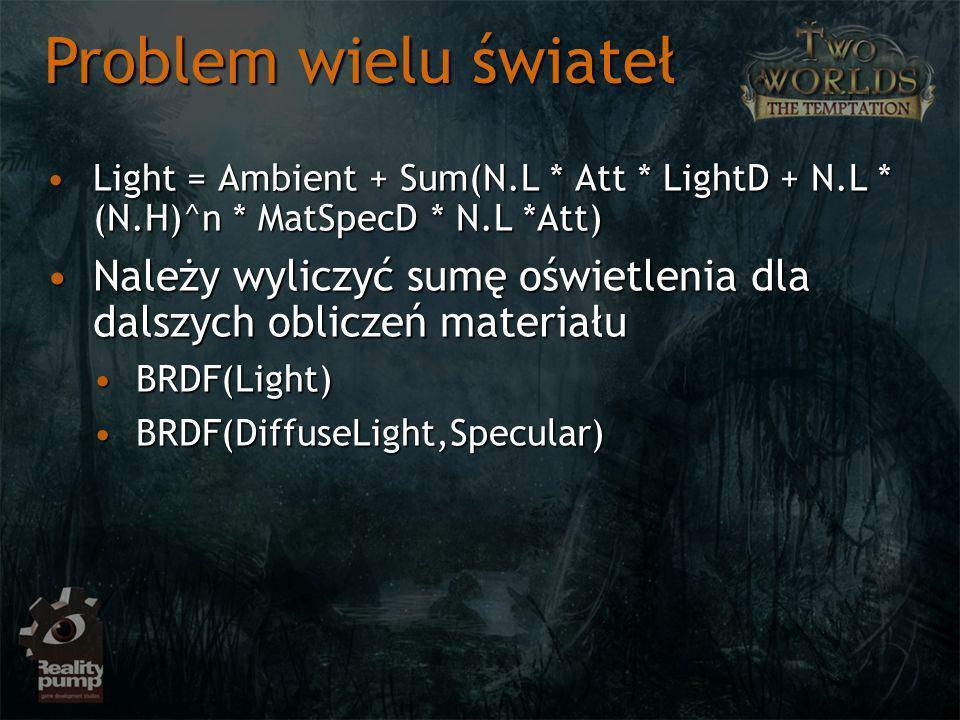 Light = Ambient + Sum(N.L * Att * LightD + N.L * (N.H)^n * MatSpecD * N.L *Att)Light = Ambient + Sum(N.L * Att * LightD + N.L * (N.H)^n * MatSpecD * N.L *Att) Należy wyliczyć sumę oświetlenia dla dalszych obliczeń materiałuNależy wyliczyć sumę oświetlenia dla dalszych obliczeń materiału BRDF(Light)BRDF(Light) BRDF(DiffuseLight,Specular)BRDF(DiffuseLight,Specular) Problem wielu świateł