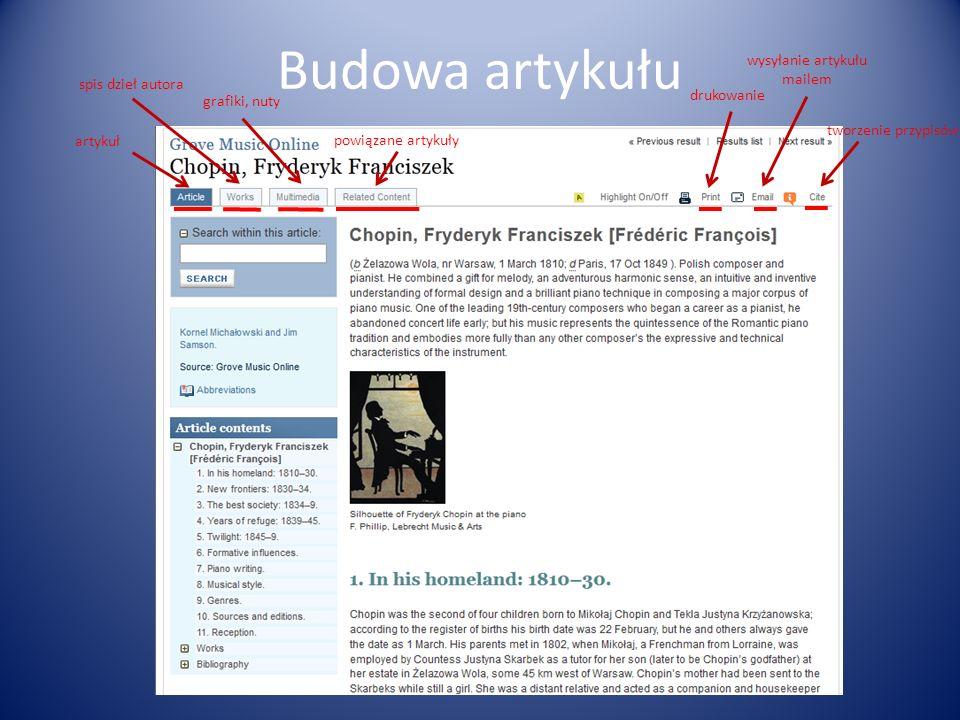 Budowa artykułu artykuł spis dzieł autora grafiki, nuty powiązane artykuły drukowanie wysyłanie artykułu mailem tworzenie przypisów