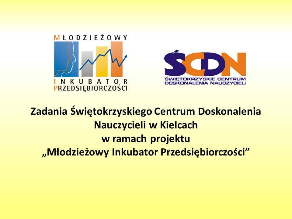 Zadania Świętokrzyskiego Centrum Doskonalenia Nauczycieli w Kielcach w ramach projektu Młodzieżowy Inkubator Przedsiębiorczości