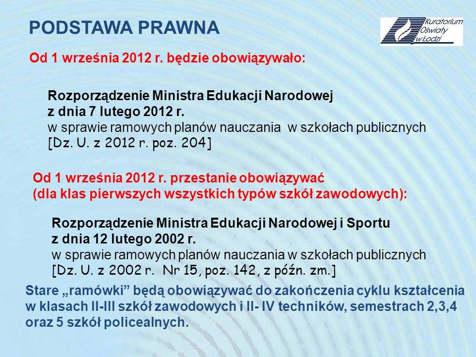 Rozporządzenie Ministra Edukacji Narodowej i Sportu z dnia 12 lutego 2002 r. w sprawie ramowych planów nauczania w szkołach publicznych [Dz. U. z 2002