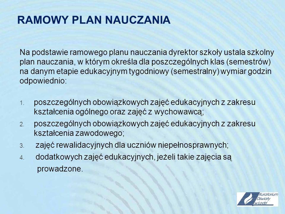 RAMOWY PLAN NAUCZANIA Na podstawie ramowego planu nauczania dyrektor szkoły ustala szkolny plan nauczania, w którym określa dla poszczególnych klas (s