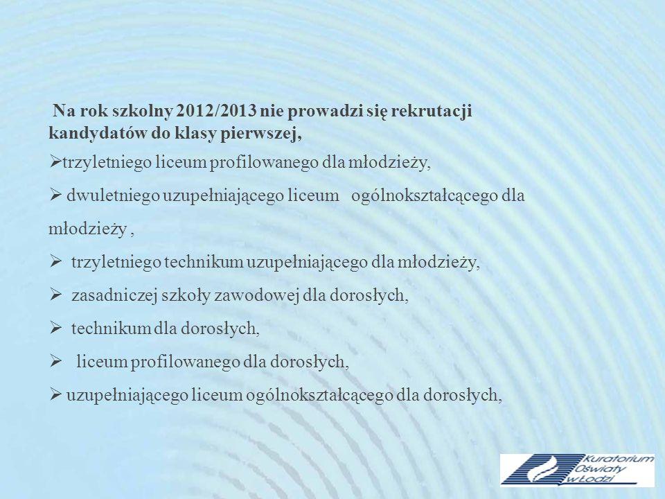 Na rok szkolny 2012/2013 nie prowadzi się rekrutacji kandydatów do klasy pierwszej, trzyletniego liceum profilowanego dla młodzieży, dwuletniego uzupe