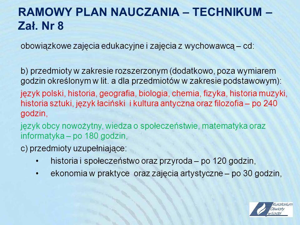 RAMOWY PLAN NAUCZANIA – TECHNIKUM – Zał. Nr 8 obowiązkowe zajęcia edukacyjne i zajęcia z wychowawcą – cd: b) przedmioty w zakresie rozszerzonym (dodat