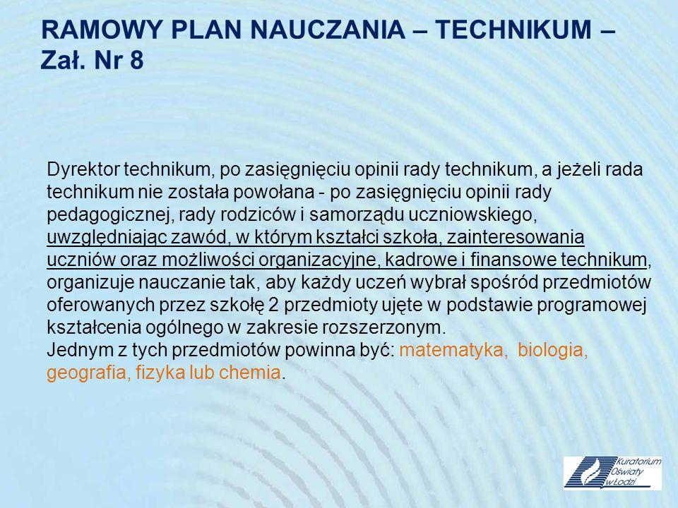 RAMOWY PLAN NAUCZANIA – TECHNIKUM – Zał. Nr 8 Dyrektor technikum, po zasięgnięciu opinii rady technikum, a jeżeli rada technikum nie została powołana