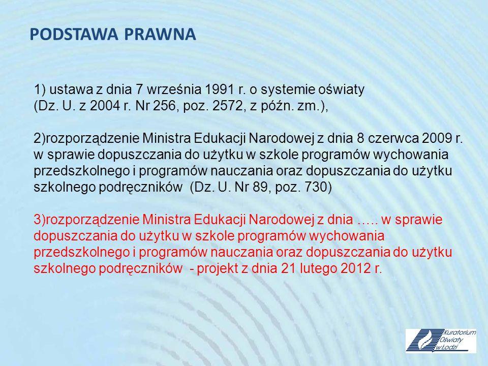 PODSTAWA PRAWNA 1) ustawa z dnia 7 września 1991 r. o systemie oświaty (Dz. U. z 2004 r. Nr 256, poz. 2572, z późn. zm.), 2)rozporządzenie Ministra Ed