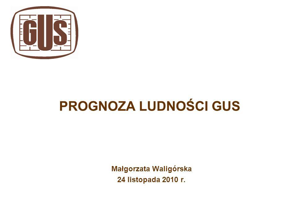 PROGNOZA LUDNOŚCI GUS Małgorzata Waligórska 24 listopada 2010 r.