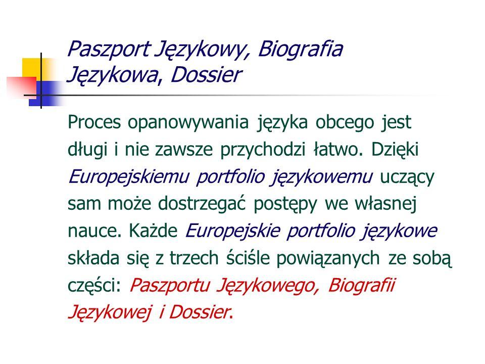 Paszport Językowy, Biografia Językowa, Dossier Proces opanowywania języka obcego jest długi i nie zawsze przychodzi łatwo. Dzięki Europejskiemu portfo