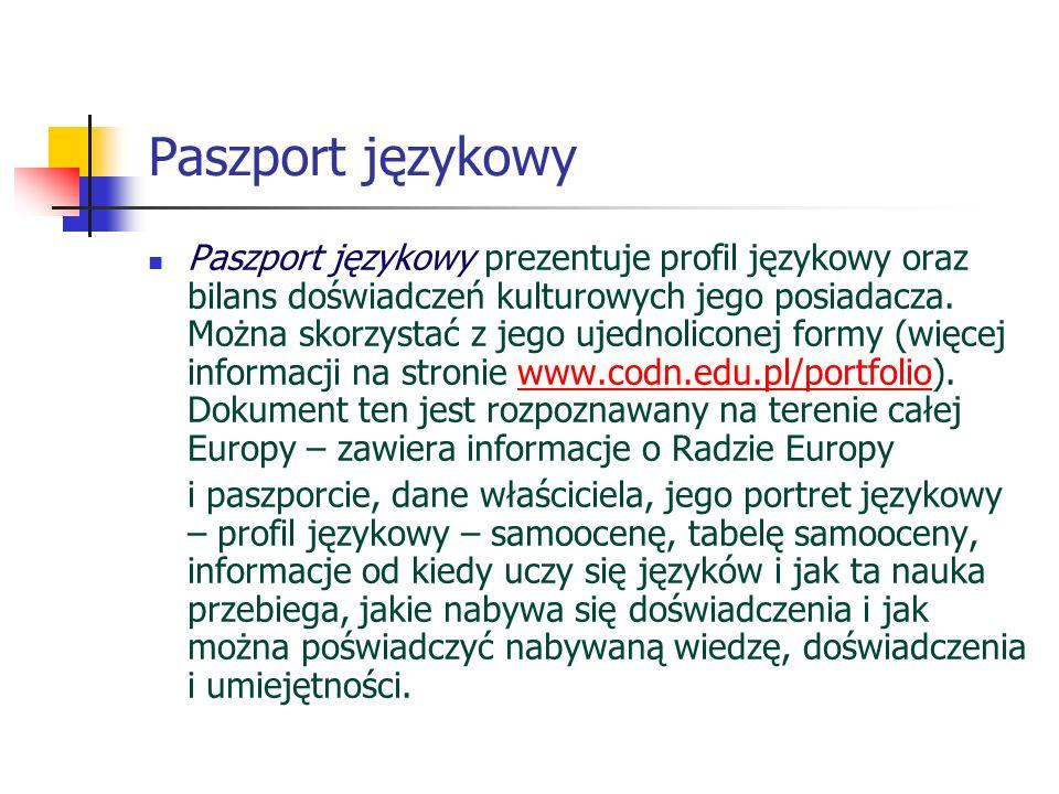 Paszport językowy Paszport językowy prezentuje profil językowy oraz bilans doświadczeń kulturowych jego posiadacza. Można skorzystać z jego ujednolico
