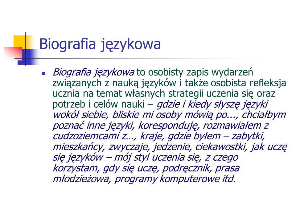 Biografia językowa Biografia językowa to osobisty zapis wydarzeń związanych z nauką języków i także osobista refleksja ucznia na temat własnych strate
