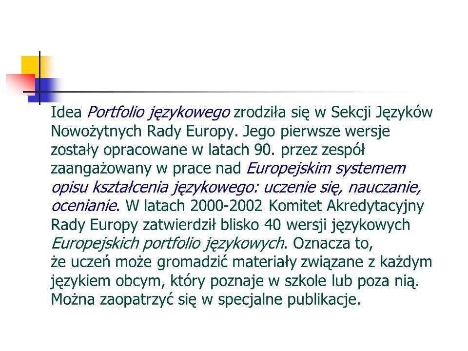 Idea Portfolio językowego zrodziła się w Sekcji Języków Nowożytnych Rady Europy. Jego pierwsze wersje zostały opracowane w latach 90. przez zespół zaa
