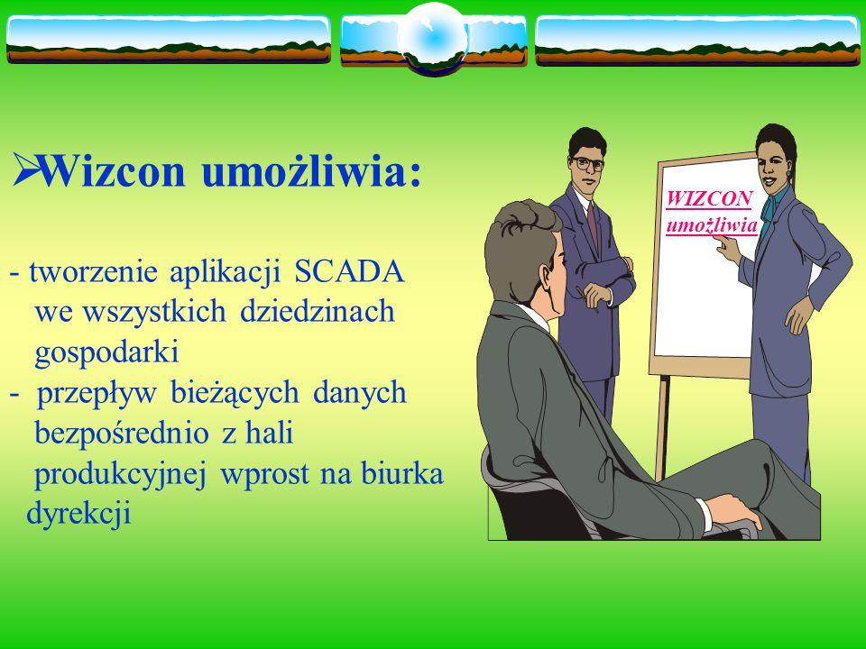 Wizcon umożliwia: - tworzenie aplikacji SCADA we wszystkich dziedzinach gospodarki - przepływ bieżących danych bezpośrednio z hali produkcyjnej wprost na biurka dyrekcji WIZCON umożliwia