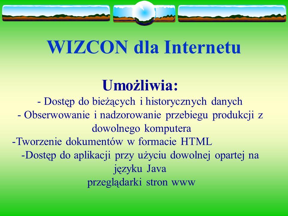 WIZCON dla Internetu Umożliwia: - Dostęp do bieżących i historycznych danych - Obserwowanie i nadzorowanie przebiegu produkcji z dowolnego komputera -Tworzenie dokumentów w formacie HTML -Dostęp do aplikacji przy użyciu dowolnej opartej na języku Java przeglądarki stron www