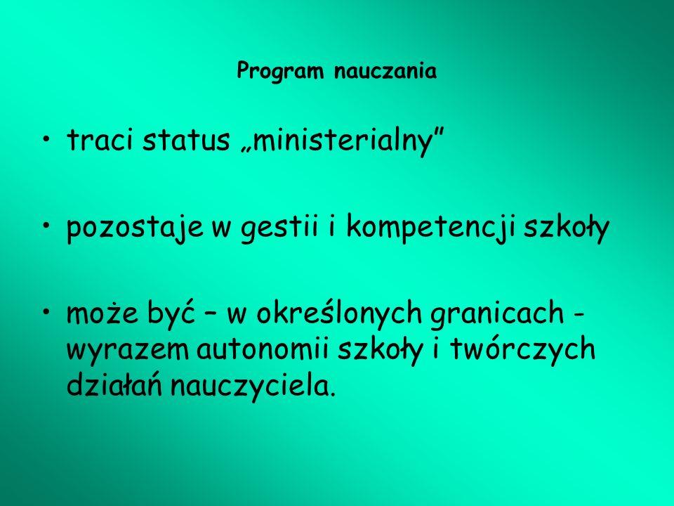 Program nauczania I.Organizacja procesu kształcenia – metryczka programu II.