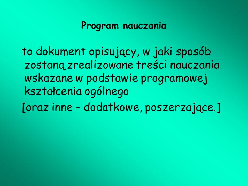 I.Organizacja procesu kształcenia – metryczka program – cd.