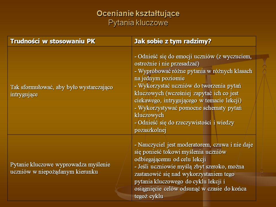 Ocenianie kształtujące Pytania kluczowe Trudności w stosowaniu PK Jak sobie z tym radzimy.