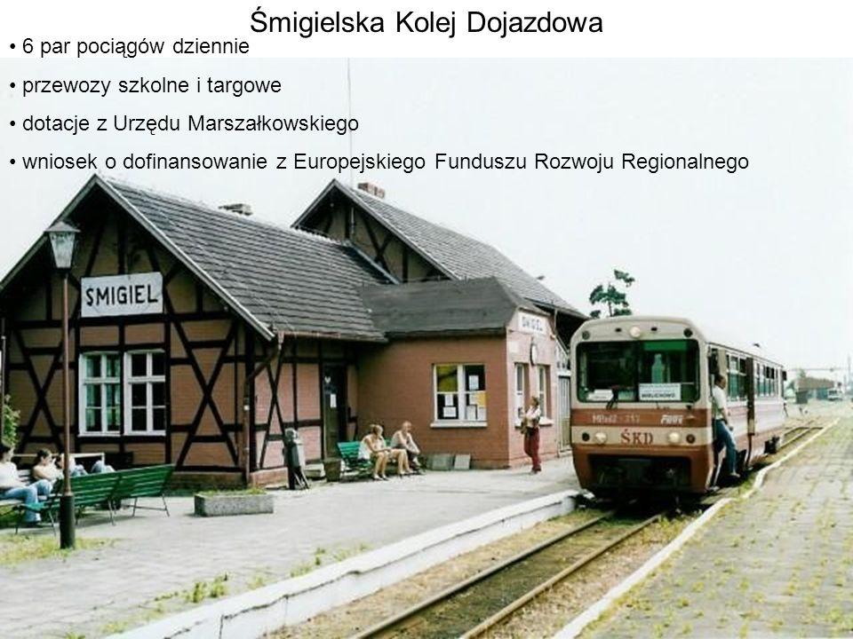 Śmigielska Kolej Dojazdowa 6 par pociągów dziennie przewozy szkolne i targowe dotacje z Urzędu Marszałkowskiego wniosek o dofinansowanie z Europejskie