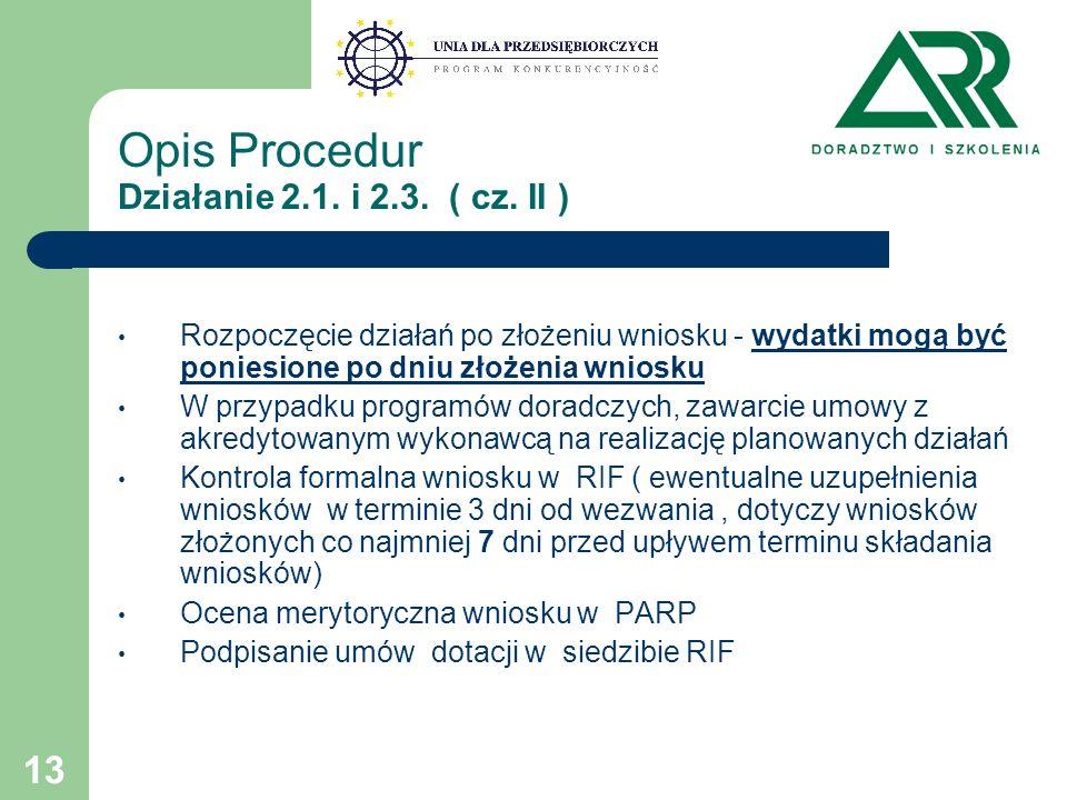 13 Opis Procedur Działanie 2.1. i 2.3. ( cz.