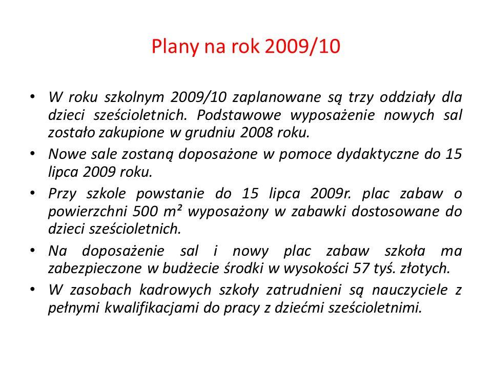 Plany na rok 2009/10 W roku szkolnym 2009/10 zaplanowane są trzy oddziały dla dzieci sześcioletnich. Podstawowe wyposażenie nowych sal zostało zakupio