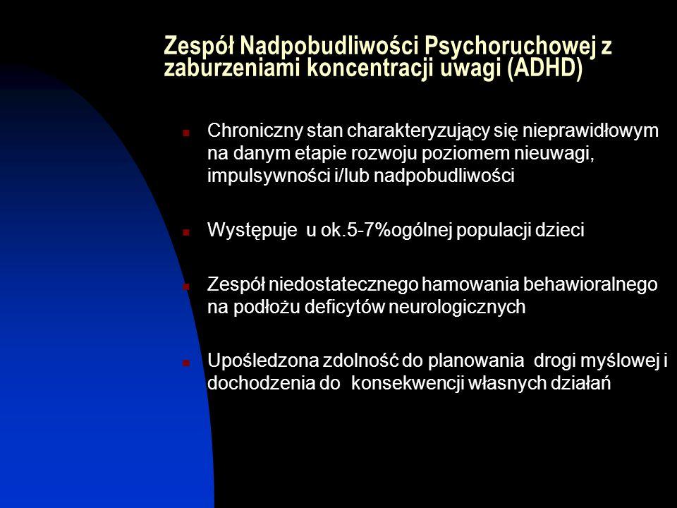 Zespół Nadpobudliwości Psychoruchowej z zaburzeniami koncentracji uwagi (ADHD) Chroniczny stan charakteryzujący się nieprawidłowym na danym etapie roz