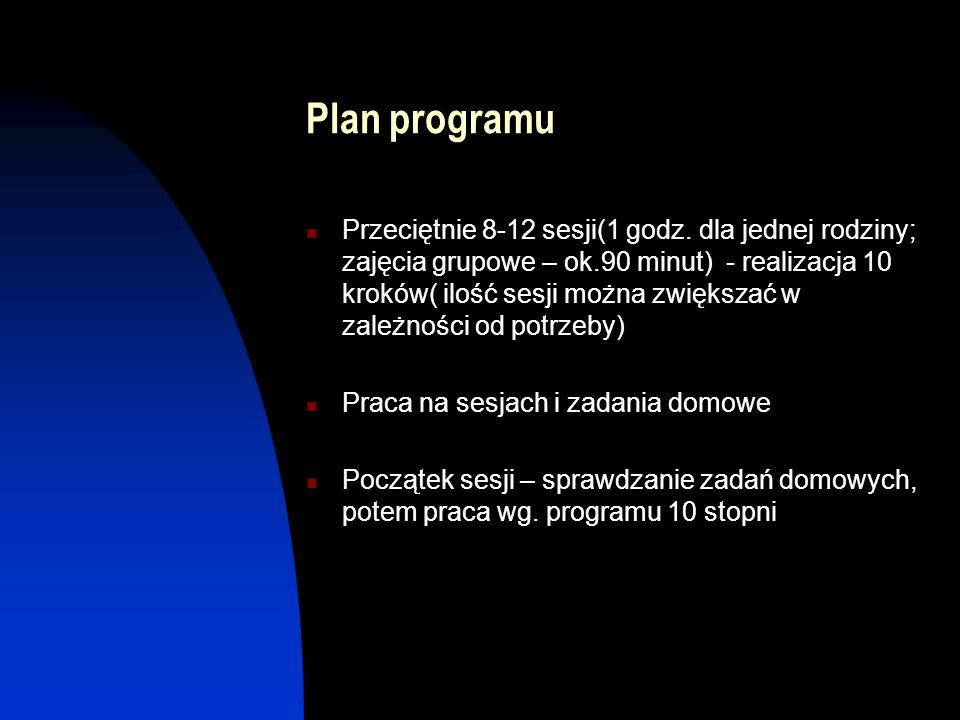 Plan programu Przeciętnie 8-12 sesji(1 godz. dla jednej rodziny; zajęcia grupowe – ok.90 minut) - realizacja 10 kroków( ilość sesji można zwiększać w