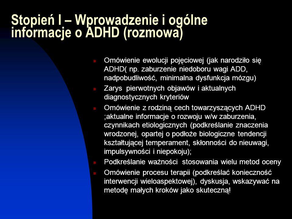 Stopień I – Wprowadzenie i ogólne informacje o ADHD (rozmowa) Omówienie ewolucji pojęciowej (jak narodziło się ADHD( np. zaburzenie niedoboru wagi ADD