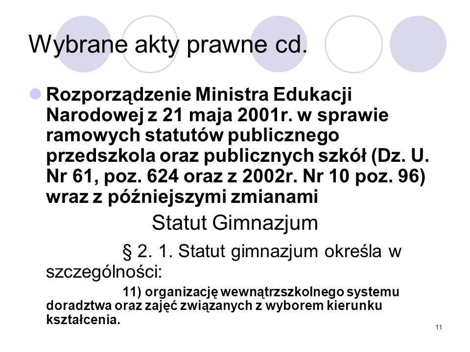 11 Wybrane akty prawne cd.Rozporządzenie Ministra Edukacji Narodowej z 21 maja 2001r.