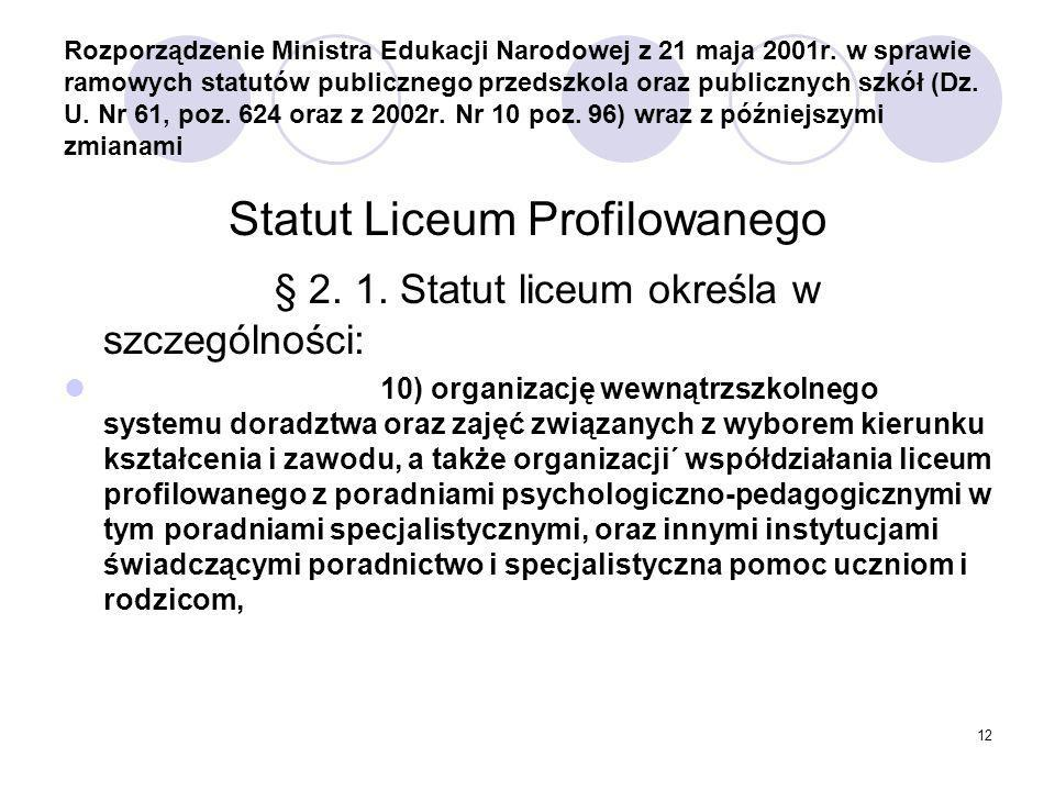 12 Rozporządzenie Ministra Edukacji Narodowej z 21 maja 2001r.