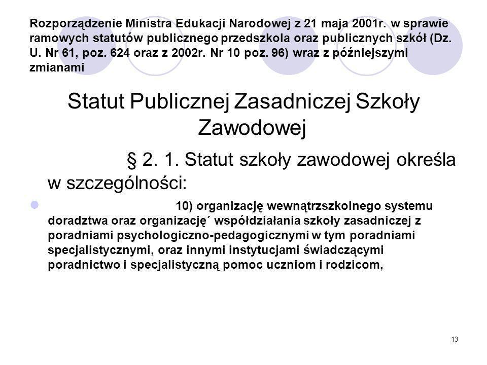 13 Rozporządzenie Ministra Edukacji Narodowej z 21 maja 2001r.