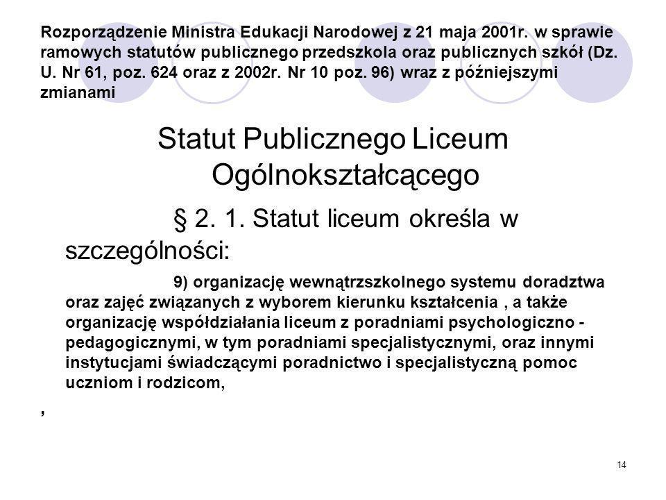 14 Rozporządzenie Ministra Edukacji Narodowej z 21 maja 2001r.