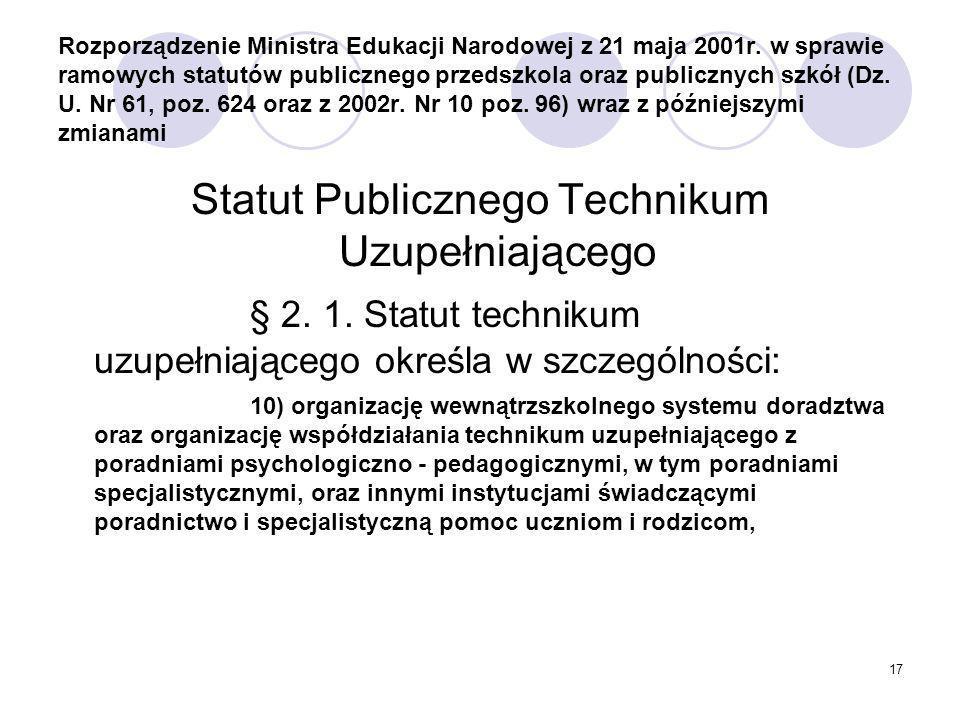 17 Rozporządzenie Ministra Edukacji Narodowej z 21 maja 2001r.