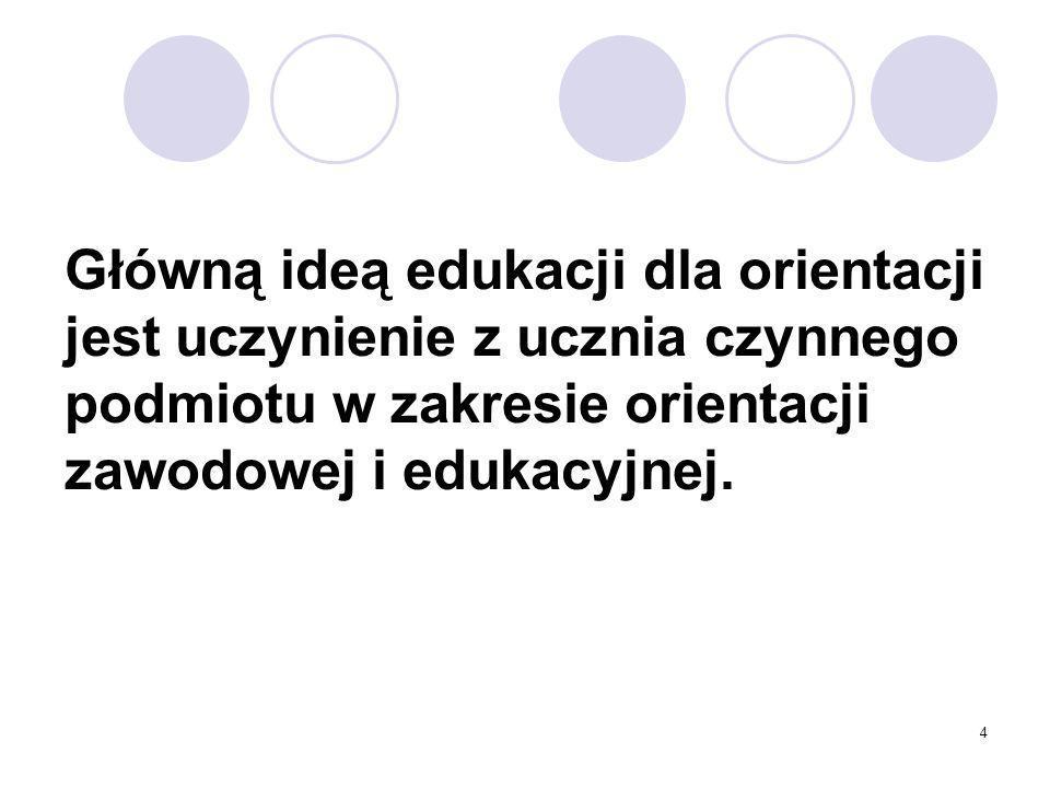 4 Główną ideą edukacji dla orientacji jest uczynienie z ucznia czynnego podmiotu w zakresie orientacji zawodowej i edukacyjnej.