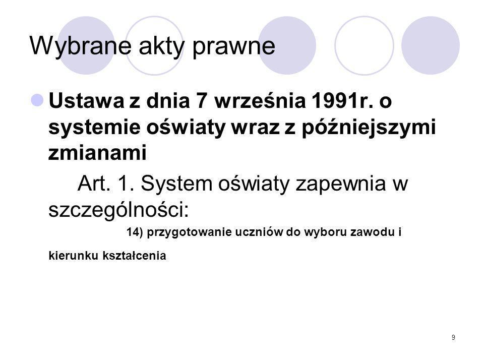 9 Wybrane akty prawne Ustawa z dnia 7 września 1991r.